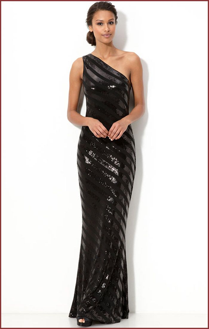David Meister Sequin Black Evening Dress