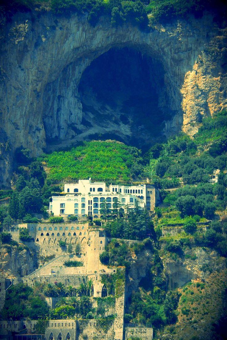 "The Grotta dello Smeraldo (Italian for ""Emerald Grotto"") is a cave, partly inundated by the sea and located in Conca dei Marini, Italy, on the Amalfi Coast."