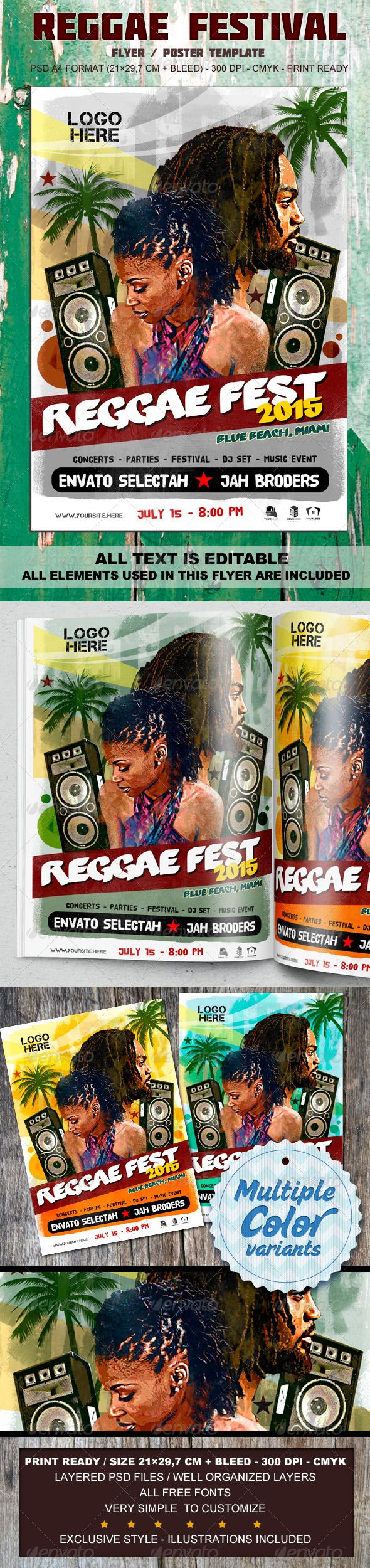 Reggae Festival Flyer & Poster - A4 PSD Template   http://graphicriver.net/item/reggae-festival-flyer-poster-a4-psd-template/8466717?ref=damiamio       This flyer was designed to promote a Reggae Music and afro event, such as a gig, concert, festival, dj set, party or weekly event in a music club and other kind of special evenings. Easy to customize and adjust. Illustrations included, fully layered!  	 Features -Template Size: A4 (210×297 mm + bleed) -Fully editable + Full layered…