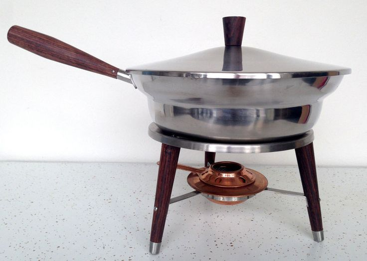 Vintage Mid Century Modern Chafing Dish Buffet Fondue Stainless Steel Walnut