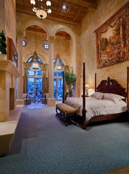 Palatial two story master suite in mediterranean style for Two story bedroom