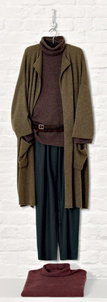 NEW Eskandar OLIVE Medium Weight Cashmere Drape Collar Long Sweater Coat $2690 #Eskandar #Sweatercoat   great color combinations