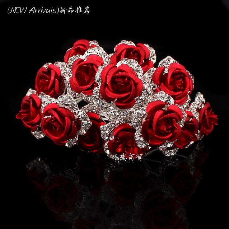 Groothandel 10 stks rode bloem clear crystal rhinestone vrouwen wedding bridal party haaraccessoires haarspelden clips grip haar sieraden in Product beschrijving:Materiaal: kristal en verzilverde metalenGrootte:Bloem afmeting ca. 20 mm, pin lengte ca. 65mmAanta van haar sieraden op AliExpress.com | Alibaba Groep