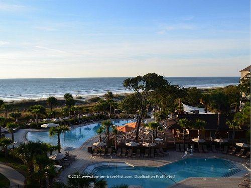 The beautifully landscaped pool area of the Omni Resort in Hilton Head Island, South Carolina.