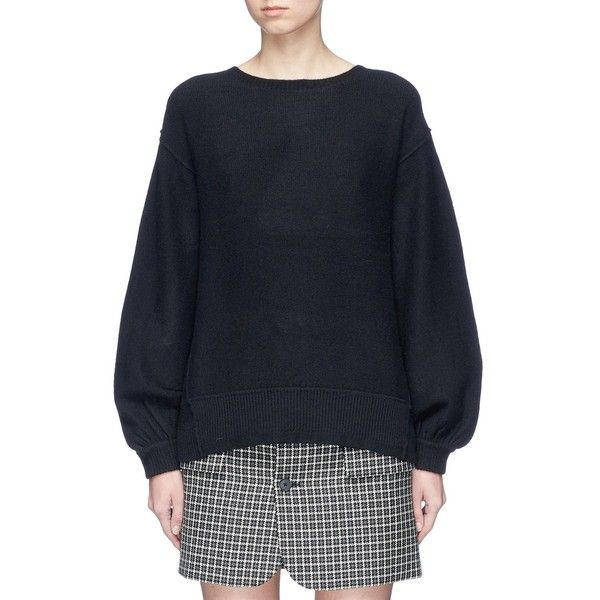 Helmut Lang Balloon sleeve wool-cashmere sweater ($395) ❤ liked on Polyvore featuring tops, sweaters, black, flounce top, cashmere sweater, wool cashmere sweater, woolen sweater and helmut lang