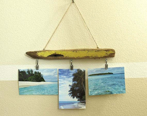 Driftwood photo hanger, drift wood picture mobile