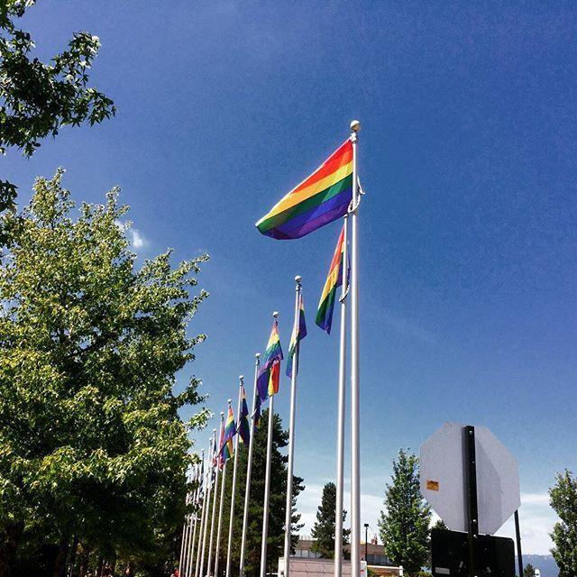Pride flags at SFU Burnaby campus during Pride Week.