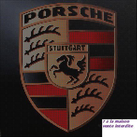 grille gratuite : logo Porsche - Le blog de 7 à la maison, point de croix, tricot, grilles gratuites...