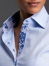Chemisier femme Executive bleu doublure à fleurs