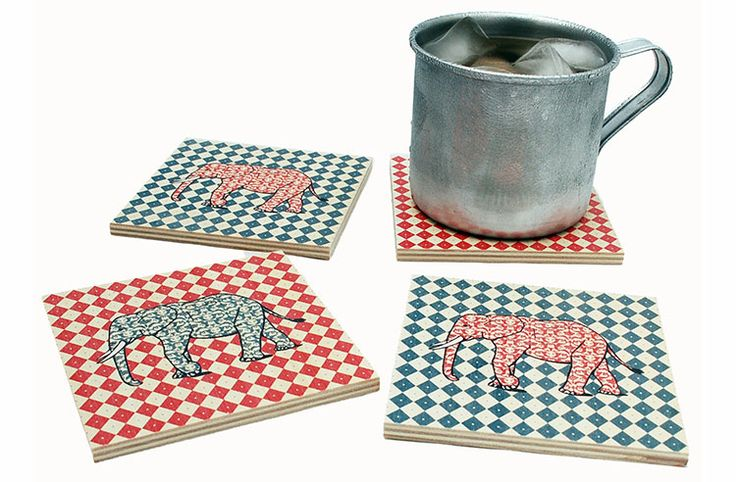 """Flox 'Elephant"""" Wooden Coasters, made from 1/4"""" Birch Wood in the USA.  Makes quite a visual impact on a tabletop!"""