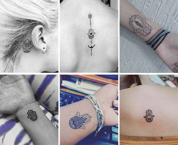 Cute Small Tattoos For Girls With Their Meanings: Tiny Hamsa Hand Tattoos