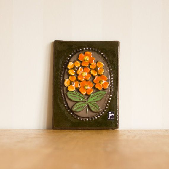 Jie Gantofta Green Ceramic Plaque with Orange by KuriosaEurope