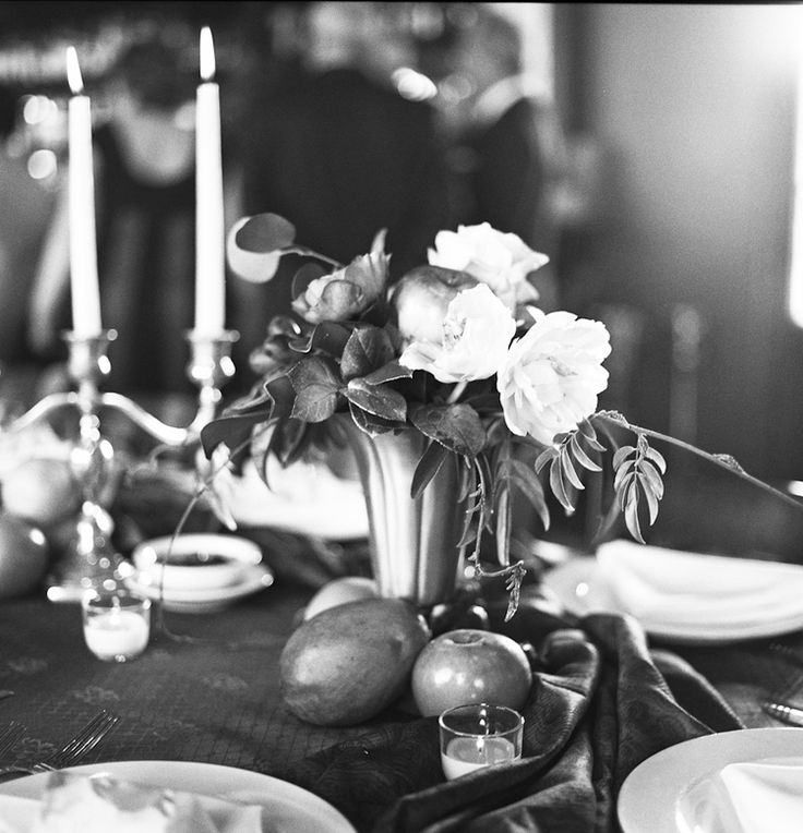Glamorous, bohemian, vintage wedding flower design with fruit. Flowers by Bee's Wedding and Event Design, Image by Reg Campbell