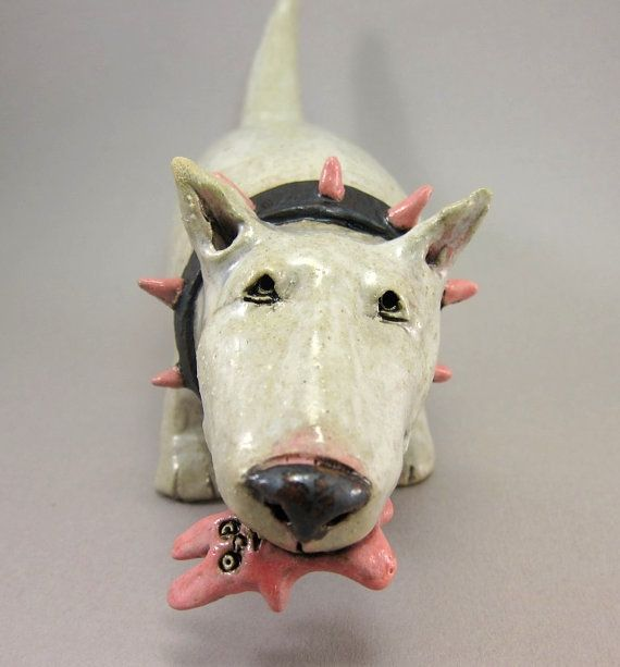 Big Bad Bunny Hunter..Dog Scupture in Stoneware This is just too cute
