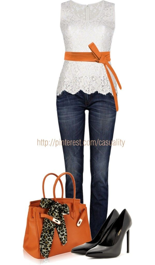 I love the white top & the belt & purse, not sure about the colors though, better if they were black or red or royal blue.