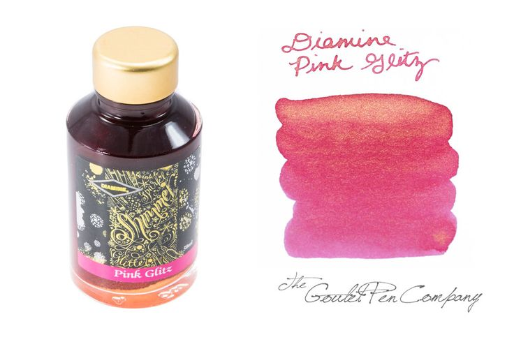 New from Diamine.... the Shimmertastic collection! This pink fountain pen ink features added gold shimmer. Works best with broader nibs on high quality paper to really see the shine. 50ml glass bottle.<div><br></div><div><b>Coming in late November or early December! Sign up below to be notified as soon as it arrives.</b></div>