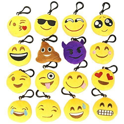 MelonBoat 16 Pack Emoji Mini Plush Pillows, Keychain Decorations, Kids Party Supplies Favors, 2