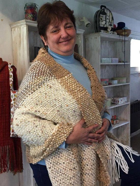 Stole/Handwoven Shawl /handwoven  Wrap / hand knit light