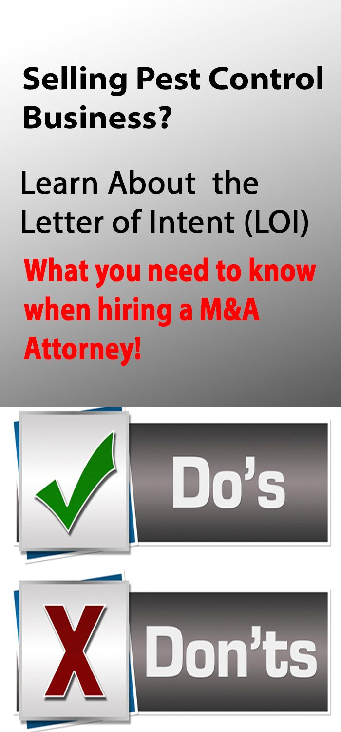 Understanding Letters of Intent (LOI) M&A Pest Control Business Attorney Advice
