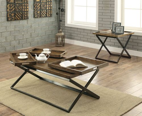 2 PC Furniture Of America Mina Collection Coffee Table U0026 End Table Set  CM4317