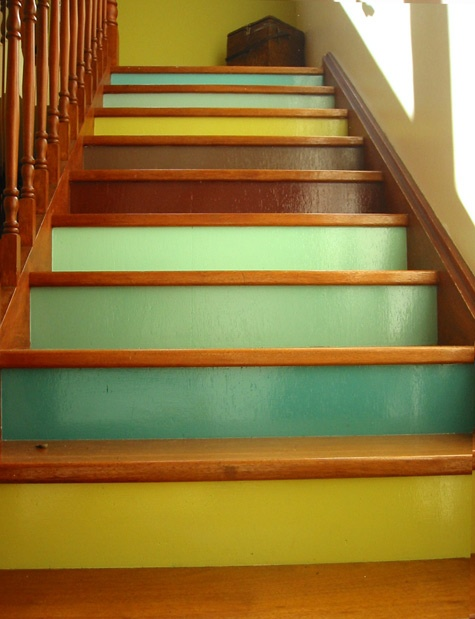 17 best images about staircases pretty steps on for Painted stair treads