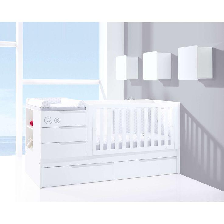 Cunas convertibles modernas y de diseño para bebés en color blanco. El konver Zero Evolutive de Alondra, incorpora unos simpáticos detalles infantiles serigrafíados ¡Descúbrelos!