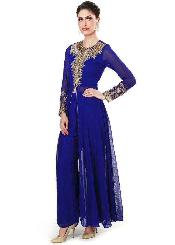 Royal blue anarkali suit embellished in mirror embroidery only on Kalki