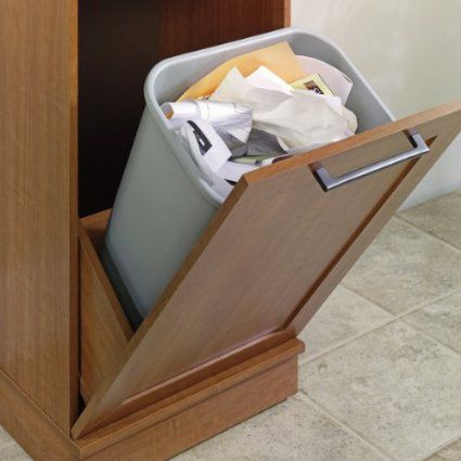 Narrow storage cabinet w recycle bin trash can holder or laundry hamper wood - Narrow clothes hamper ...