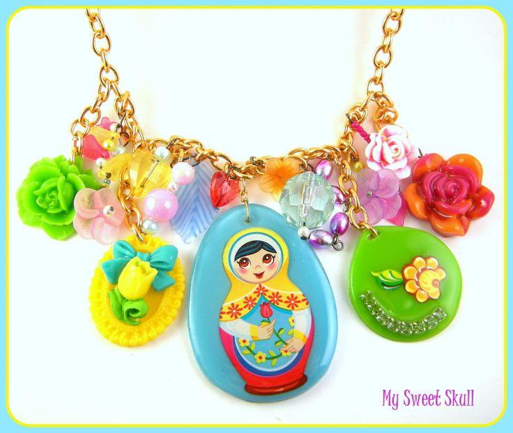 Matryoshka Charm Necklace Babushka doll in colorful cartoon like charm ...