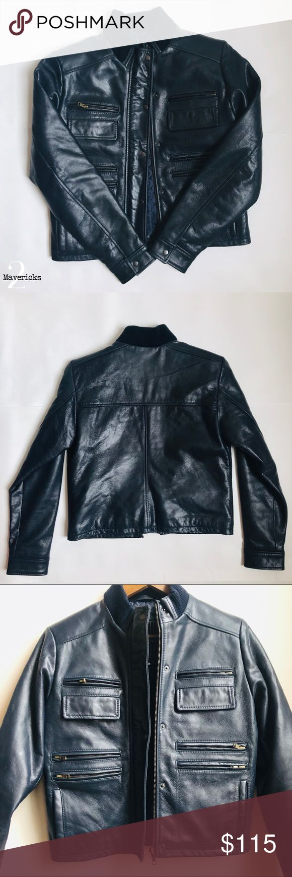 Ladies Navy Blue Superior New York Leather Jacket Such a