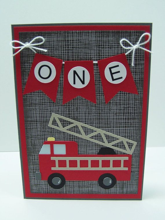 Handmade Birthday Card  Fire Truck Birthday by DawnsGreetingCards, $4.50