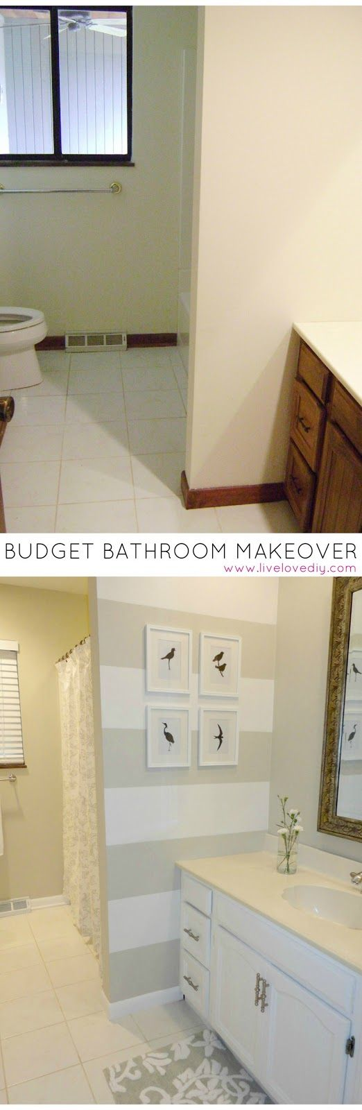 Budget Bathroom Makeover for under $200! Tons of great ideas for updating old bathrooms.