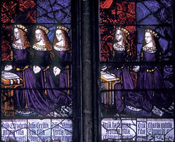 "The Daughters of Edward IV - Catherine of York - The five daughters of King Edward IV (1461–1483) and Elizabeth Woodville, (left to right): Elizabeth, Cecily, Anne, Catherine, and Mary, all ""Princesses of York"". Royal Window, Northwest Transept, Canterbury Cathedral"