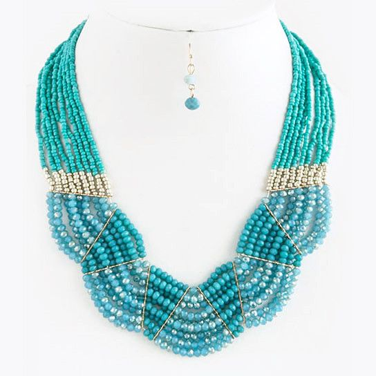 Glass Bead Bib Collar Statement Necklace Set