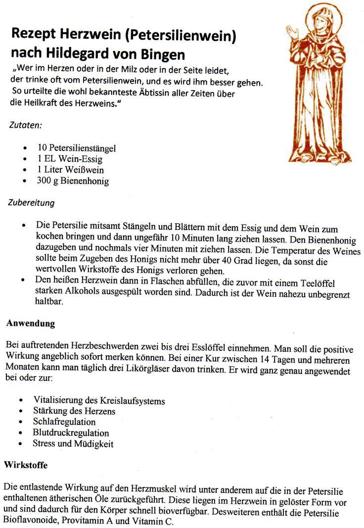Herzwein - Petersilienwein nach Hildegard von Bingen