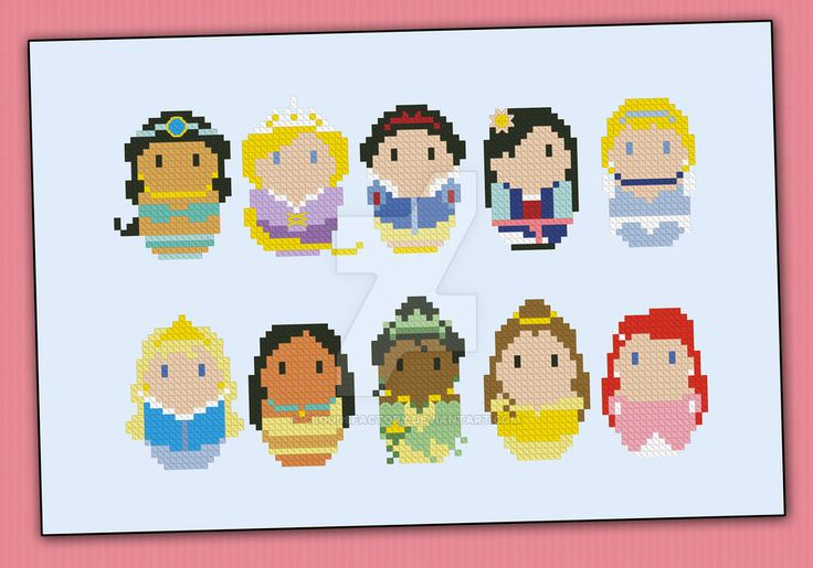 Mini People - Princesses cross stitch pattern by cloudsfactory.deviantart.com on @DeviantArt