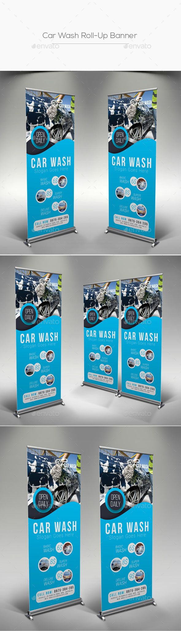 #Car #Wash #Roll-Up #Banner #Template - #Signage #Rollup #ads #banner #Print #de...