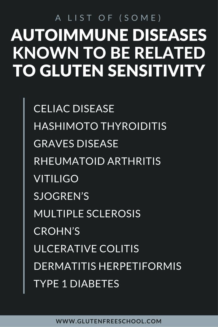 here's a list of some autoimmune diseases known to be related to gluten sensitivity — Celiac Disease, Hashimoto Thyroiditis, Graves Disease, Rheumatoid Arthritis, Vitiligo, Sjogren's, Multiple Sclerosis, Crohn's, Ulcerative Colitis, Dermatitis Herpetiformis, and Type 1 Diabetes.