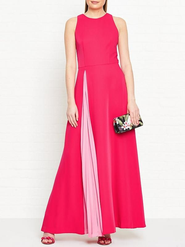 58ab012cf9832a TED BAKER Madizon Contrast Pleat Maxi Dress - PinkSize   FitTrue to size -  order your