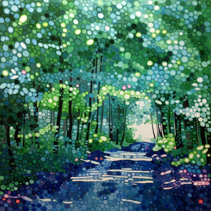 Ewa Adams Under a Blue Canopy Acrylic on Canvas 40 x 40 cm £ 895  #Art #Paintings #Exhibitions #Surrey