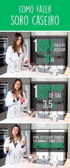 O soro caseiro é feito misturando 1 litro de água, 3,5g sal e 20g de açúcar e serve para combater a desidratação causada por vômitos ou diarreia, e pode ser usado até mesmo por bebês e animais domésticos.
