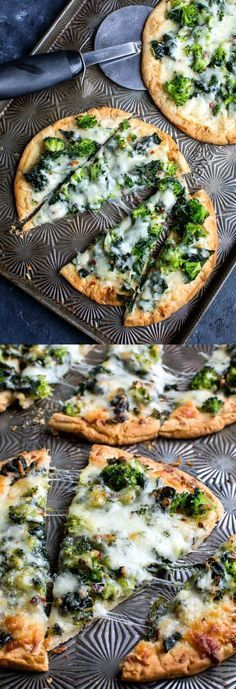 This cheesy broccoli kale pesto pizza uses store bought flatbread for a fast and flavorful personal pizza, perfect for busy weekdays!