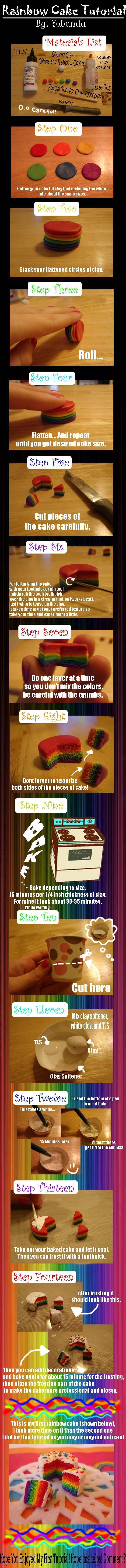 Miniature Clay Rainbow Cake Tutorial I made.    Find my other clay works on my website : yobanda.deviantar... and on sale here : www.etsy.com/.... Follow my instragram @Emma Goebel too!
