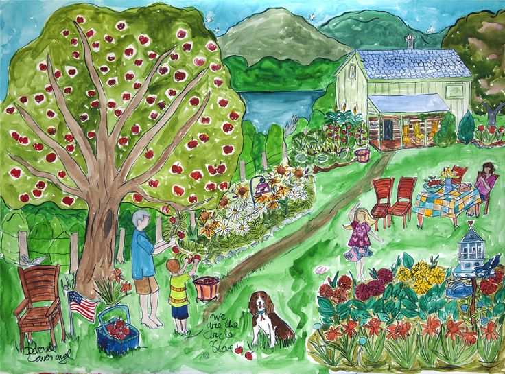 This was a gift from daughter to father.  The home is in the mountains and the family gathers to harvest apples every fall. More info at http://www.DeborahCavenaugh.com
