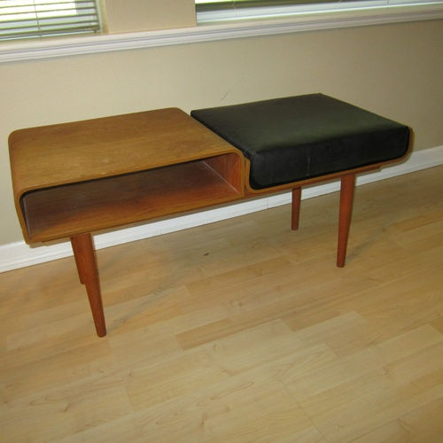 50's Mid Century Danish Modern Eames Era Bentwood Telephone Bench Table