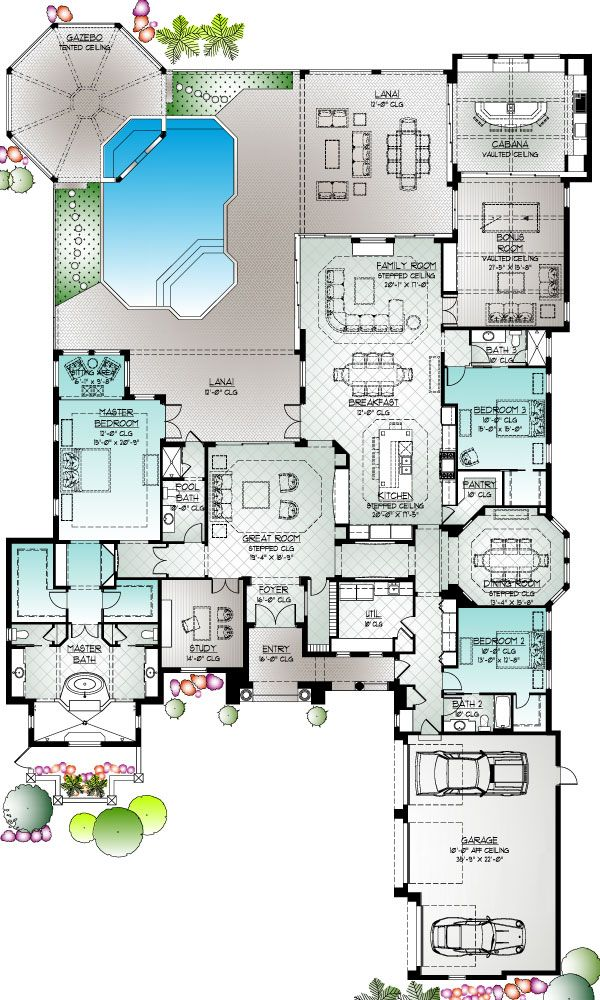 Florida builders house plans house plan 2017 for Golf course house plans designs