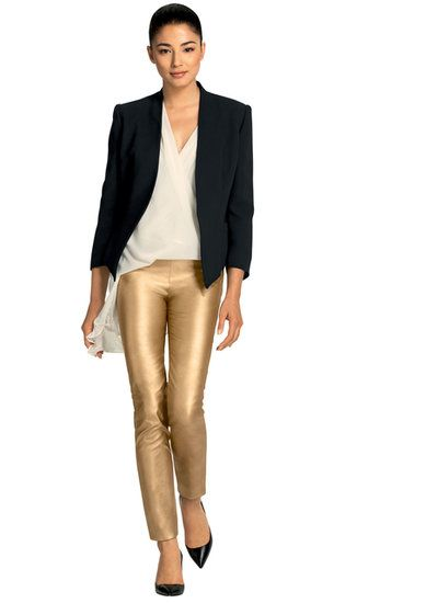 Carla Zampatti 2013: Night look with gold leather pants and flowing white top.