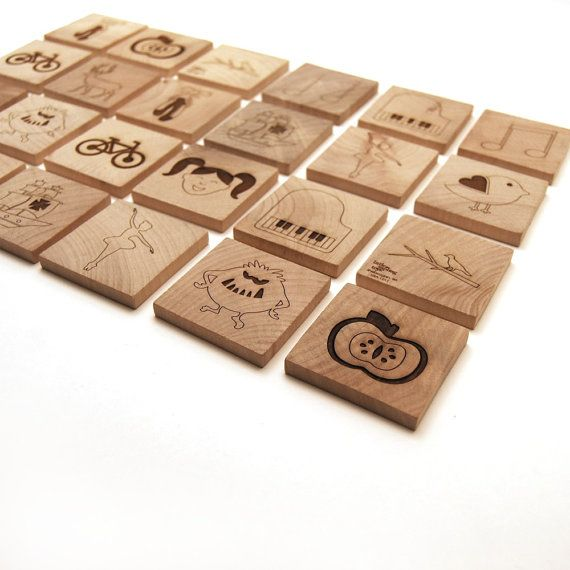 Wooden Matching Tile Game wooden toy kids toy kids game - assorted pictures 24 piece. $26.00, via Etsy.