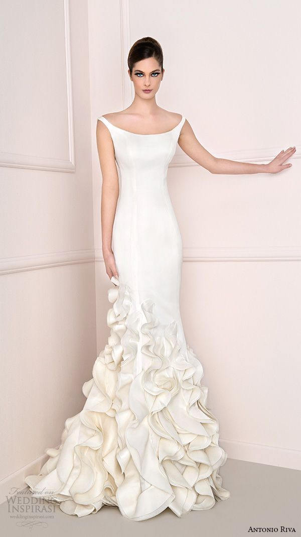 antonio riva 2016 bridal dresses scoop neckline chic clean sheath wedding dress cascading ruffled layers fiona