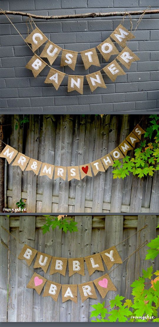 Burlap wedding banner to use in place of signs or for rustic wedding decor. Scroll to number 17 on the page.